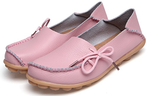 On Shoes Driving Moccasin Leather Casual Women's Loafers Slip Flats Pink Labato pwgqZHWa