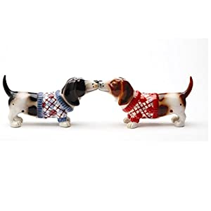 """Pacific Giftware Kissing Basset Hounds in Sweater """"Nothing but a Hound Dog"""" Magnetic Salt and Pepper Shaker Set 1"""