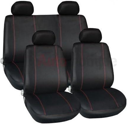 PREMIUM FULL CAR SEAT COVER SET RED PIPING 2+ Automotique SKODA CITIGO