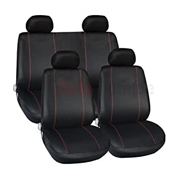 07+ PREMIUM BLACK SEAT COVERS RED PIPING 1-1 CORSA D