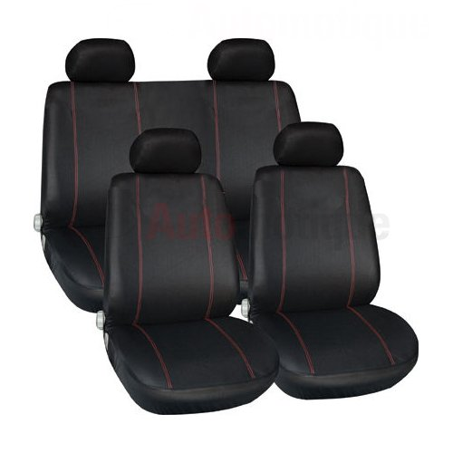 PREMIUM FULL CAR SEAT COVER SET RED PIPING HIGH QUALITY