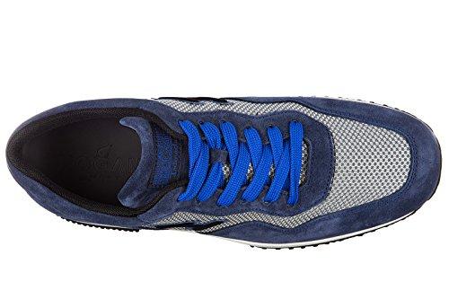 Hogan chaussures baskets sneakers homme en daim interactive h flock blu