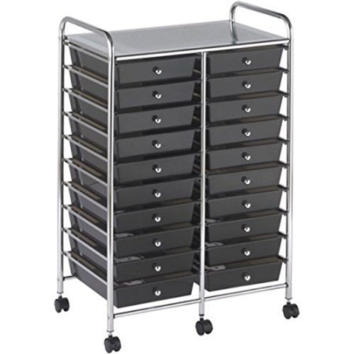 20 Pull Out Translucent Smoke Black Drawers Steel Frame Mobile Organizer - 14 Drawer Mobile Organizer