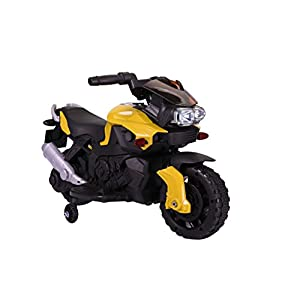 Kids Ride On 6V Electric Powered Motorcycle Bike Toy with Training Wheels with AUX Plug, Yellow