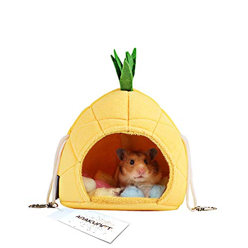 Hamster Bedding, Hamster Cage Accessories Hammock, Hamster House Toys for Small Animal Sugar Glider Squirrel Chinchilla Hamster Rat Playing Sleeping (Pineapple)