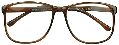 Sunglass Stop - Round Oversized Horn Frame Optical Rx 1.00 thru 3.50 Reading Glasses (Brown 1.50)