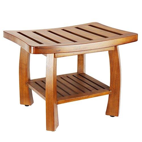 (Oceanstar Solid Wood Spa Bench with Storage Shelf, Teak Color)