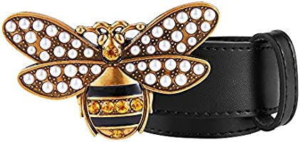 Women/'s Belts Genuine Leather Fashion Bee Designer Buckle Belt With Pearl Gift