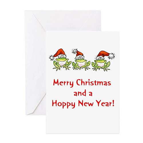 CafePress Happy Froggy Christmas Greeting Cards (Package Of Greeting Card (10-pack), Note Card with Blank Inside, Birthday Card Glossy