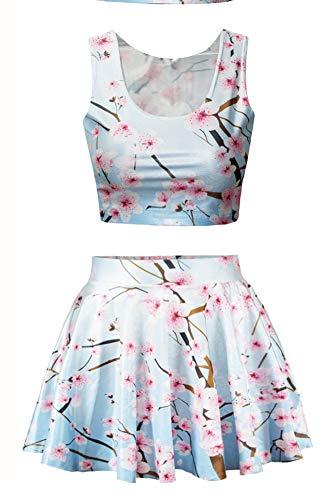 Jescakoo 3D Flowers Printing High Waisted Mini Skater Skirt for Juniors Teens -