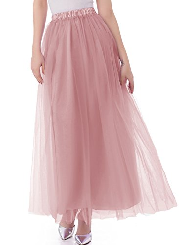 Emondora Tutu Tulle A-Line Floor Length Skirt Women Prom Evening Gown Dress Up Blush Size S (Masked Ball Outfit)