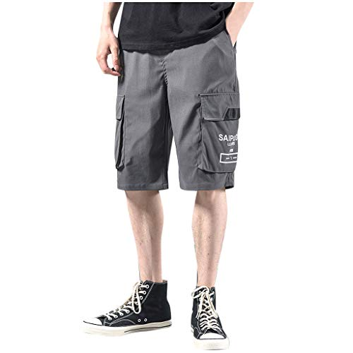WANQUIY Men's Cotton Casual Shorts Knit Lounge Shorts with Pockets for Summer Jogger Pants Shorts Gray (Best Jeans For Curvy Figure Uk)