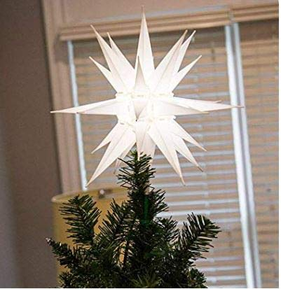 """Elf Logic - 12"""" Moravian Star Tree Topper - Warm Glowing White 3D Lighted Christmas Star Tree Topper - Use as Advent Star, Bethlehem Star as Holiday Light Decoration! (Incandescent)"""