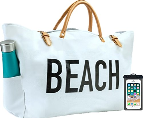 PACO Large Canvas Beach Bag Travel Tote (White), Waterproof Lining, 3 Pockets, FREE Waterproof Phone Case by Paco
