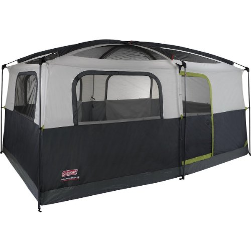 Coleman Prairie Breeze 9-Person Cabin Tent, Black and Gre...