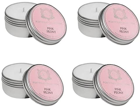 Aquiesse Travel Tin Candle Set, 4 Pack, Pink Peony - Travel Tin Scents