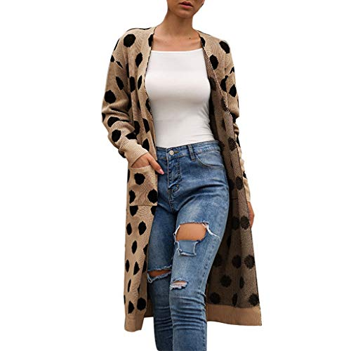 POQOQ Autumn Tunic Women Knitted Dot Print Long Sleeve Cardigan T-Shirt Sweater Coat(Khaki,XL) -