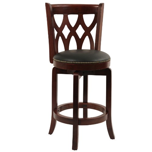 Cherry Counter Height Stool - Boraam 40324 Cathedral Counter Height Swivel Stool, 24-Inch, Cherry
