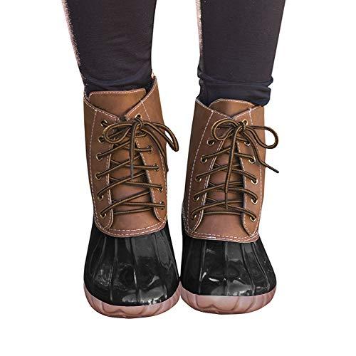 Liyuandian Womens Lace Up Duck Boots Waterproof Two Tone Combat Calf Rain Shoes