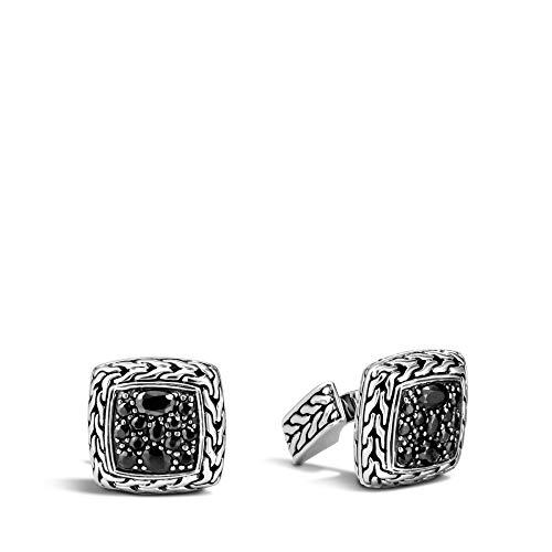 - John Hardy Men's Classic Chain Silver Lava Square Cufflinks with Black Sapphire