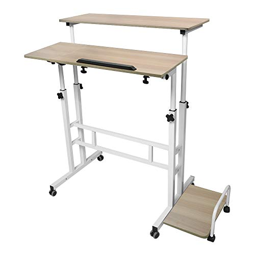 Toonshare Folding & Lifted Mobile Laptop Computer Desk-31.5×15.7 inch, Light Wood Grain