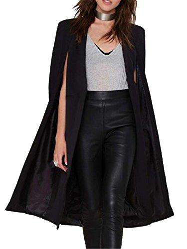Fensajomon Women's Casual Business Split Stylish Shawl Collar Cardigan Trench Coat Jacket Black L by Fensajomon
