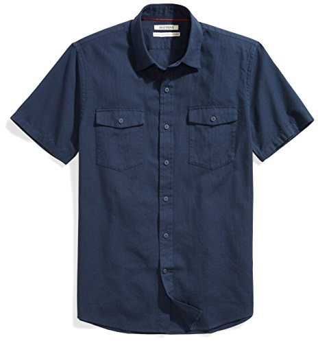 Goodthreads Men's Standard-Fit Short-Sleeve Ripstop Dobby Shirt, Navy, X-Large