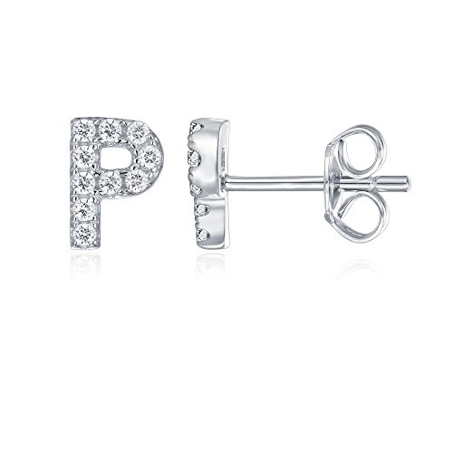 (PAVOI 925 Sterling Silver CZ Simulated Diamond Stud Earrings Fashion Alphabet Letter Initial Earrings - P)