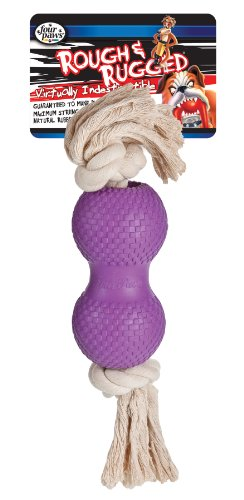Four Paws Rough - Four Paws Rough and Rugged Dumbell with Rope Dog Toy