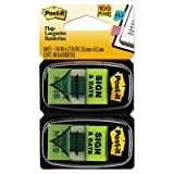 Arrow Message 1'''' Page Flags, ''''Sign and Date'''', Green, 2 50-Flag Dispensers/Pack, Sold as 100 Each