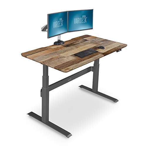 VARIDESK - Full Electric Desk - PRODESK 60 Electric Reclaimed Wood - 3-Button Memory Settings