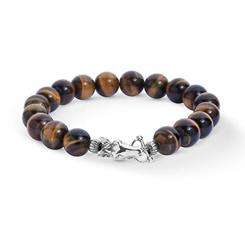 American West Sterling Silver Tiger Eye Gemstone Bead and Horse Clasp Bracelet Size Larage