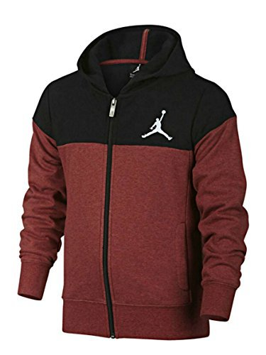 Quilted Hooded Zip Sweatshirt (NIKE Air Jordan Quilted Hooded Sweatshirt Youth Red Black 953271 R79 (s))