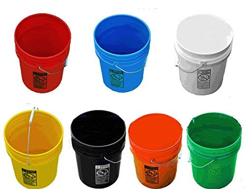 5 Gallon Buckets, Seven (7) Pack Plastic All Colors