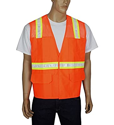 Safety Depot Safety Vest Reflective Surveyor with Button Down or Hook & Loop Closure and Pockets Two Tone Hi-Vis for Construction, EMS, Airport, Events and Road Work 6038A Solid Safety Multiple Colors