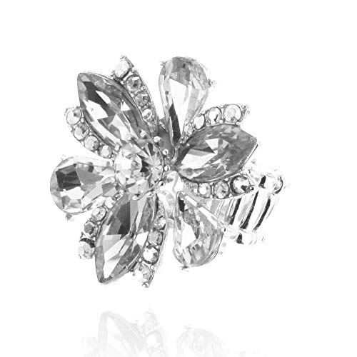 (SP Sophia Collection Five Petal Flower Stretch Adjustable Ring Embellished with Round Marquise and Tear Drops in Silver)