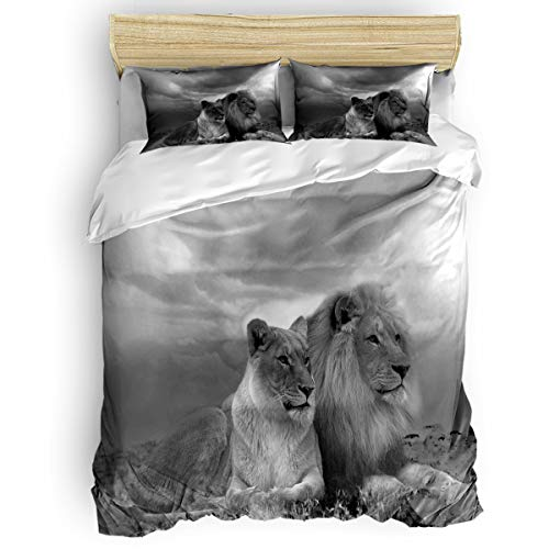 beautiful lions design bedding set