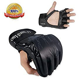 MMA Gloves, UFC Gloves Boxing Leather More Paddding for Men Women Knuckle Wrist Protection, Half Finger Mitts Sparring…