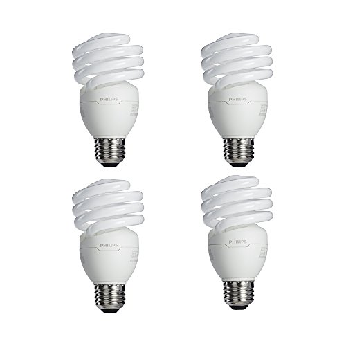Philips 433557 100-watt Equivalent, Bright White (6500K) 23 Watt Spiral CFL Light Bulb, 4-Pack - 23w Cfl