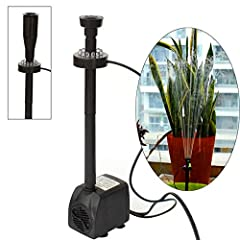 This submersible pump is designed for reliability and ultra-quiet operation to provide years of service. It is anti-corrosive, acid-resisting and durable. This submersible water pump is great for fresh/salt water aquarium, fountains, spout an...