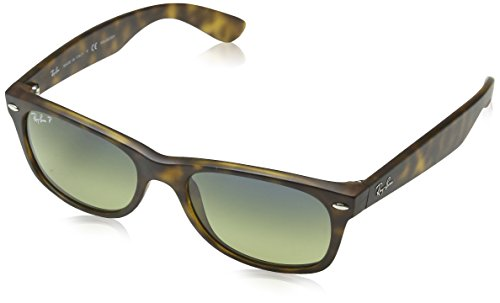 Ray-Ban RB2132 New Wayfarer Polarized Sunglasses, Matte Tortoise/Polarized Green Gradient, 52 mm
