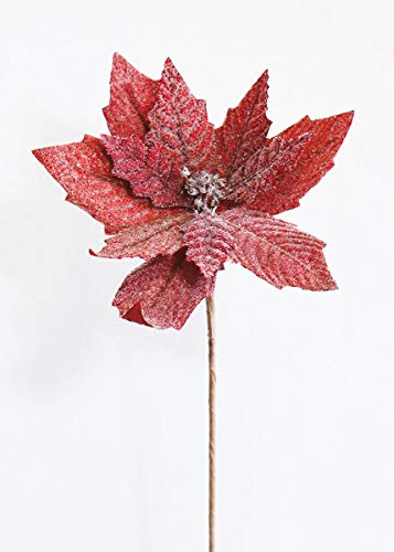 Beaded and Glittered Poinsettia Flower in Red - 24