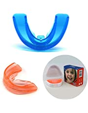 Double Braces Mouth Guard, for 7-12 Years Old Children's Teeth Braces Orthodontic Retainer Teeth Trainer,Blue+Orange(2 Stages)