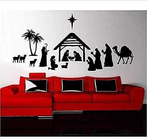 Adesivi murali decorazione tatuaggio da parete buon natale presepe da parete fai da te arte personaggio soggiorno casa camera da letto Kirchen 58X27Cm