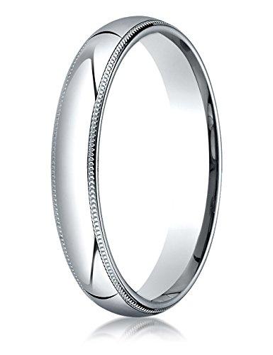Platinum 4mm Slightly Domed Super Light Comfort-fit Wedding Band / Ring with Milgrain Size 6.5 (Wedding Platinum Band Domed Milgrain)