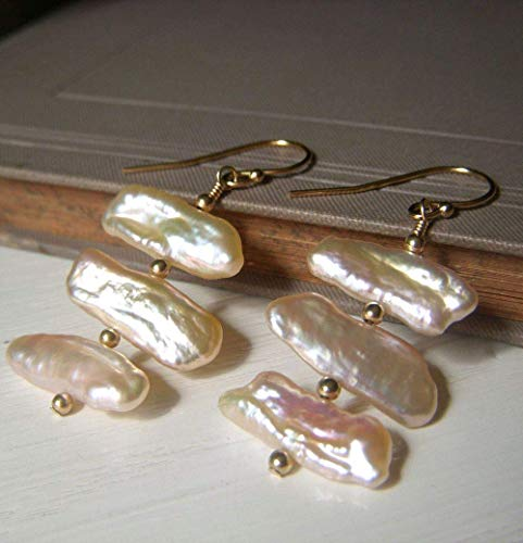 Biwa Stick Cultured Freshwater Pearl Earrings, Gold Filled, Ivory Cream, Luminous Sheen ()