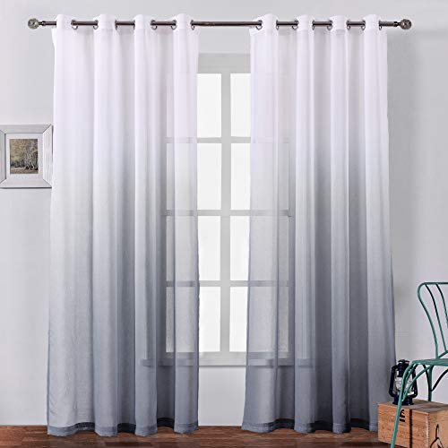Bermino Faux Linen Sheer Curtains Voile Grommet Ombre Semi Sheer Curtains for Bedroom Living Room Set of 2 Curtain Panels 54 x 84 inch Grey Gradient (Curtains White With Grey)