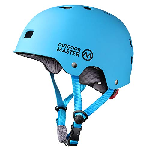 OutdoorMaster Skateboard Helmet - CPSC Certified Lightweight, Low-Profile Skate & BMX Helmet with Removable Lining - 12 Vents Ventilation System - for Kids, Youth & Adults - L - Blue ()