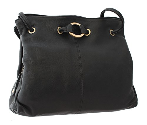 Bolla Bags Wimborne Collection Two Strap Leather Shoulder Bag CANFORD Black/Tan Black