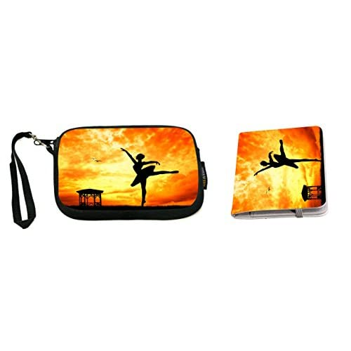 Rikki Knight Keep Calm and Pointe On Orange Ballet Design Neoprene Clutch Wristlet with Matching Passport Holder